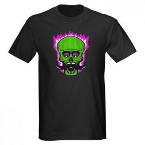 Flaming Hipster Mustache Skull