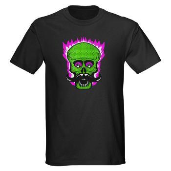 Flaming Hipster Mustache Skull!