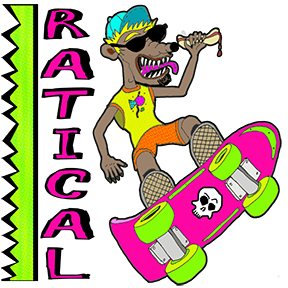Ratical! Skateboard Rat 80s T Shirt